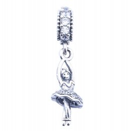 Wholesale ballerina jewelry silver - Vintage 925 Sterling Silver Ballerina Dangle Charms With CZ Pave Hobbies Pendant Jewelry For Women Fit European Bracelet DIY Making HB373