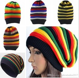 Wholesale Rasta Fitted Hats - New Fashion Jamaica Reggae Gorras Rasta Style Striped Beanies Men Women Autumn Winter Rainbow Knitted Warm Hats Caps skullies