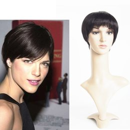 Wholesale Men Waves Hair - Short Hair Cuts Human Hair Wigs For Men Women 6inch Short Bob Straight Machine Made Lace Front Wig Angel Wave Hair