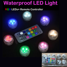 Wholesale Led Candle Light Remote Control - Underwater Flickering Flicker Flameless LED Waterproof Candles Light with Remote Control Operated Wedding Birthday Party Xmas Gift Wholesale