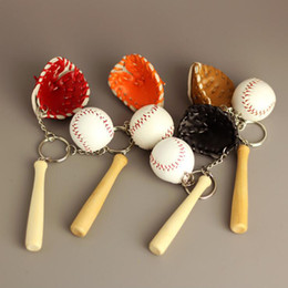 Wholesale Mini Classic Car - 4 Color Sports Memorabilia - Cute Mini Softball Baseball Glove Wooden Bat Keychain Bag Pendant Key Chain Ring