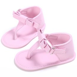 Wholesale Cribs For Baby Girls - Wholesale- Brand Baby Girls Shoes for Summer Slippers Newborn First Walkers Infants Crib Shoes Toddlers PU Leather Flats with Fashion Bows