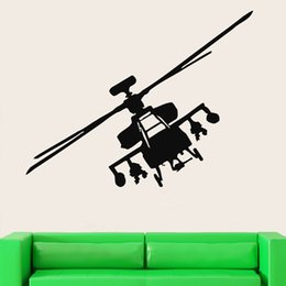 Wholesale Kids Helicopter Room Decor - Hot Sale Wall Stickers Vinyl Decal Helicopter Apache Fighter Military Decor Art Culture Mural DIY