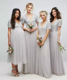 Wholesale Tea Length Maternity Bridesmaid Dress - Sparkly Sequins Silver Long Bridesmaid Dresses 2018 Tea Length V Neck Short Sleeves Maternity Maid Of Honor Gowns Beach Wedding Party Wear