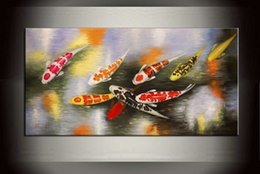 Pittura a olio di pesce koi online-Koi Fish Art Canvas 100% Handmade Modern Wall Art Decor Feng Shui Pesce Koi Pittura Pittura a olio astratta Casa contemporanea per vivere Decor