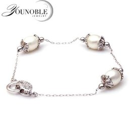 Wholesale 9mm Sterling Silver Chain - YouNoble chain 925 sterling silver bracelet 8-9mm women,white bead freshwater pearl jewelry bracelet charms girl birthday best gift
