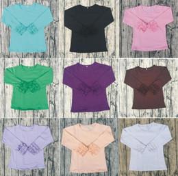 Wholesale Knit Shirt Children - Knit Icing Ruffle Children Long Sleeve Shirt Candy Color Pure Color Super Cotton Elastic Girl Shirt