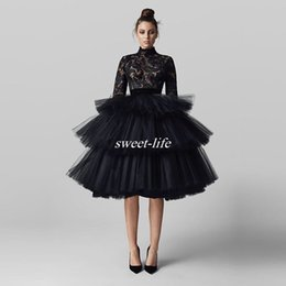 Wholesale Knee Length Puffy Dresses - Black Knee Length Prom Dresses Puffy Ball Gown Tulle High Neck Lace 2017 Arabic Long Sleeves Women Evening Gowns Party Queen Dress Buttons