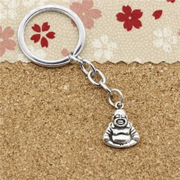 Wholesale Buddha Antique Silver - 15pcs Fashion Diameter 30mm Metal Key Ring Key Chain Jewelry Antique Silver Plated two sided buddha 20*16mm Pendant