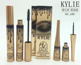 Wholesale Mascara Eye Liner - New Makeup kylie Birthday waterproof Slim dense Curling Mascara and eye liner set kylie Gold Birthday Mascara and eye liner