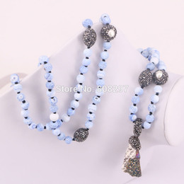 Wholesale Heart Knot Necklace - 3Pcs Handmade natural druzy necklace semi precious matte blue stone necklaces Fashion jewelry women long knot necklace