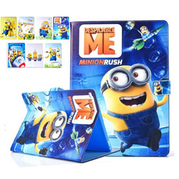 Wholesale Despicable Sleep - Despicable Me Me2 Minions Cartoon PU Stand Cover Case for iPad 6 5 air 2 1 Mini 4 Auto sleep wake OPP BAG