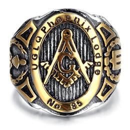 pollice d'oro Sconti Anello in acciaio inossidabile da uomo in acciaio di alta qualità, vintage, biker, oro, nero, massonico, anelli da uomo