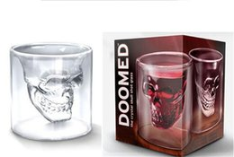 Wholesale Birthday Head - Doomed Crystal Skull Head Double Wall Vodka Shot Glass Cup for Home Bar Birthday Party Beer Wine Whisky Drinking Glasses Cup 75ML