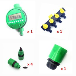 Wholesale Timer Sets - 1 set (7 pcs) Home Garden irrigation Drip timer Pipe Splitter 4 Way Tap Connectors Quick Connector 3 4 Screw thread interface