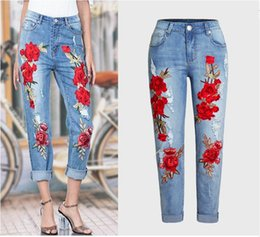 Wholesale High Fashion Clubwear - 3D Boyfriend Jeans 2017 New Fashion Denim Embroidery Holes Jean Beading Pencil Jeans Woman Clubwear Style Street Holes Ripped Jeans femme