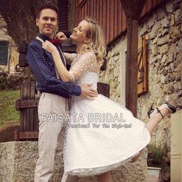 Wholesale Sexy Cross Skirt - 1950s Annette Polka Dot Wedding Dresses with Sweetheart Neckline Tea Length Skirt Custom Made to Fit 2017 Knee Length Bridal Wedding Dress