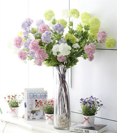 Wholesale Artificial Flowers Hydrangeas - Artificial Hydrangea Fake Silk 4 Flower Heads Real Touch Hydrangeas for Wedding Centerpieces Home Party Decorative Flowers High Quality