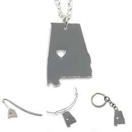Wholesale Alabama State - US State map necklace Alabama silver tone Alabama necklace bangle keyring bookmark