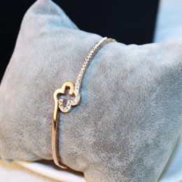 Wholesale Rose Gold Clover Bracelet - Agood fashion brand design brief bracelets & bangles for women rose gold clover wedding party jewelry accessories H00130