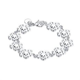 """Wholesale Silver Chains Rolo Bracelets - New Arrival Romantic Style Silver Plated Color """"Flower Bracelet"""" Rolo Bracelet for Women Global Free Shipping H169"""