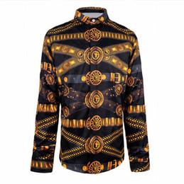 Wholesale Baroque Prints - Wholesale- Fashion Wave Long Sleeve Men's Shirts Retro Noble 3D Egypt Religion Belt Floral Print Shirt Casual Royal Baroque Fancy Shirts
