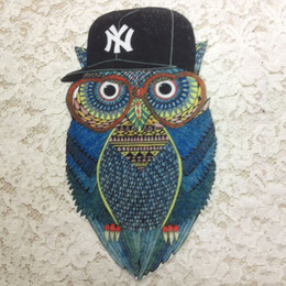 Wholesale Iron Applique Owls - 20pcs Iron On Patch For Clothing Vintage Patches parches ropa Night Owl Embroidered Jeans Jacket Patchwork Badge Motif Appliques Accessories