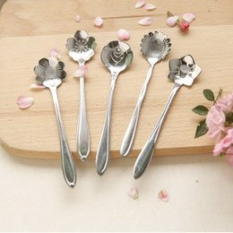 Wholesale Cherry Blossom Tea - Stylist Stainless Lovers Cherry Blossoms Rose Measuring Spoons Tea Coffee Spoon Children's Soup Ice cream Scoop S201774