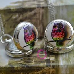Wholesale Buyer Price - Wholesale-wholesale buyer price good quality silver mirror sketch drawing cute colorful owl chain pocket watch necklace hour antibrittle