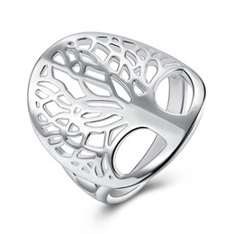 Wholesale Hot Tree Charms - Fashion design hollow tree ring 925 silver fashion jewelry simple charm style cool birthday gift free shipping hot