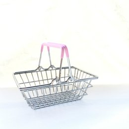 Wholesale iron cart - Mini Supermarket Shopping Cart Kids Toy Desktop Cosmetic Sundries Organizer Iron Storage Basket 3 Sizes ZA4097