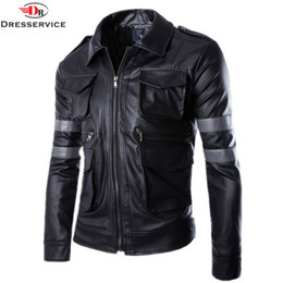Wholesale Top Selling Mens Jackets - Wholesale- Size M-3XL 2016 New Top Resident Evil Hot-selling three-dimensional pockets Mens leather jacket slim fit leather coat men Male