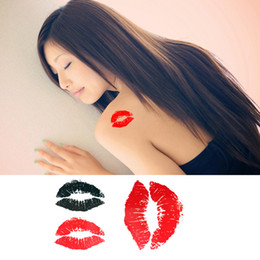 Wholesale Temporary Body Tattoos For Women - Free shipping temporary tattoo Caterpillar red lips tattoos sticker waterproof body art tatoo sexy Kiss for women