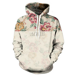 Wholesale Long Sweat Fashion - Wholesale- New Fashion Men's 3D Print Hooded Sweatshirts Harajuku Vintage Floral Leisure Hoodie Flowers Graphic Pullover Unisex Sweats Tops