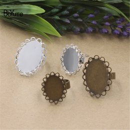 Wholesale Oval Cabochon Settings Silver - BoYuTe 40Pcs Oval 13*18MM 18*25MM Cabochon Base Ring Silver Bronze Diy Adjustable Ring Setting Jewelry Findings