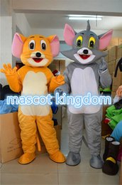 Wholesale Mouse Jerry Costume - Tom Cat And Jerry Mouse 2 pcs Mascot Costume Christmas Fancy Dress Free Shipping