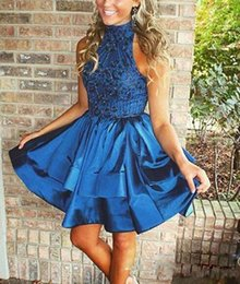 Wholesale Double Ruffled Shorts - 2017 Navy Blue High Neck Beaded Short Homecoming Dresses Double Layers Satin Ruffle Short Cute Prom Gown High Quality Cocktail Party Dresses