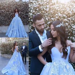 Wholesale Ocean Blue Gowns - Ocean Blue 2017 Vestidos De Novia Puffy Ball Gown Prom Dresses Sexy Off Shoulder Lace Appliques Evening Gowns Arabic Formal Party Dress