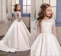Wholesale Organza Ball Gowns For Children - 2017 Cheap Flower Girls Dresses For Weddings Jewel Neck Long Sleeves Lace Appliques Pearls Sweep Train Birthday Children Girl Pageant Gowns