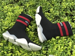 Wholesale Outdoor Netting Fabric - VETEMENTS SS CREW UNISES Sock Trainer Dropping RUNNING Shoes CN3307 Trainer Casual Shoe Man Woman Socks Stretch Knit Outdoors Casual Boots