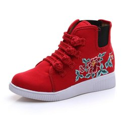 Wholesale Chinese Wedges Shoes - Chinese Style Women Heudauo Embroidered Flower Wedge Shoes Chaussure Femme Comfortable Canvas Casual Shoes For Teenage Girls