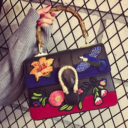 Wholesale Red Shopper - ladies handbags 2016 fashion embroidered bag women famous brands designer flower bird bag bamboo shopper shoulder crossbody bags