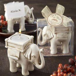 2019 elfenbein teelichter 50 teile / los Heißer Verkauf Braut Hochzeit Dusche Favor Geschenk Elfenbein Spaß Elefant Teelicht Kerzenhalter Mit Elegante Verpackung rabatt elfenbein teelichter