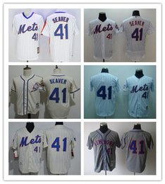 Wholesale Stripes Toms - Embroidered Mens New York Mets #41 Tom Seaver 1969 Throwback White Home Gray Road Cream Pullover Stripe Flex Cool Baseball Jerseys M-3XL