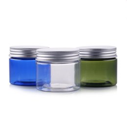 Wholesale Small Plastic Glasses - 50pcs lot New Arrived 50g Transparent Small Plastic PET Jars With Aluminum Lid Blue Color Empty Cosmetic Sample Jar With Lid