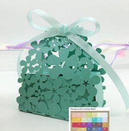 Wholesale bridal shower cheap - Cheap wedding favor boxes with ribbon floral laser cut bridal shower gift boxes multi color free ship