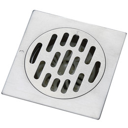 Wholesale Drain Grating - BLH 552 Quality Stainless Steel Square Shower Drain Floor Drain Brushed Nickel Grate Drain Hair 10*10cm