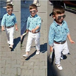Wholesale Spring Boys 3pc Sets - Boys casual outfits 3pc set blue checked shirt+belt+white trousers kids casual clothing spring autumn for 1-7T