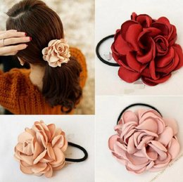 Wholesale Girl Fabric Flower Hairband - Hairband Fashion Women Hair Accessories Elastic Bands Girl Rope Gum Rubber Band tie bun holder camellia rose flower design