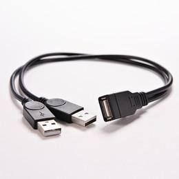 Vente en gros- 1 PC USB 2.0 A 1 Femelle à 2 Dual USB Mâle Data Hub Adaptateur secteur Y Splitter USB Câble d'alimentation de charge Cordon de rallonge 39CM ? partir de fabricateur